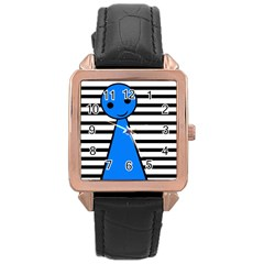 Blue Pawn Rose Gold Leather Watch  by Valentinaart