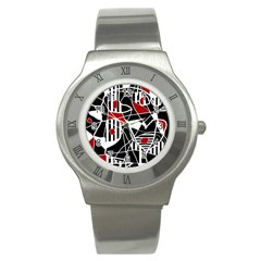 Artistic Abstraction Stainless Steel Watch by Valentinaart