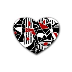 Artistic Abstraction Rubber Coaster (heart)  by Valentinaart