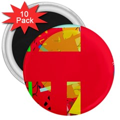Red Abstraction 3  Magnets (10 Pack)  by Valentinaart