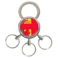 Red Abstraction 3 Ring Key Chains by Valentinaart
