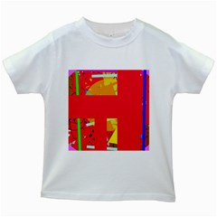 Red Abstraction Kids White T Shirts by Valentinaart