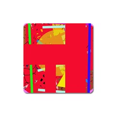 Red Abstraction Square Magnet by Valentinaart