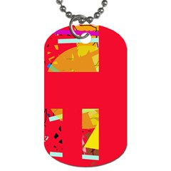 Red Abstraction Dog Tag (two Sides) by Valentinaart
