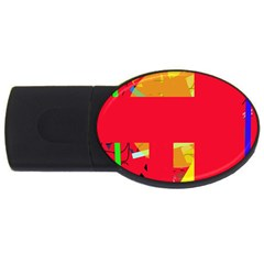 Red Abstraction Usb Flash Drive Oval (2 Gb)  by Valentinaart