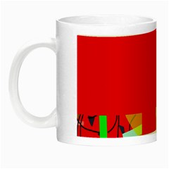 Red Abstraction Night Luminous Mugs by Valentinaart