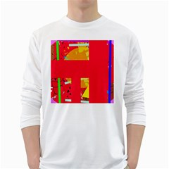 Red Abstraction White Long Sleeve T-shirts by Valentinaart