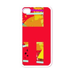 Red Abstraction Apple Iphone 4 Case (white) by Valentinaart