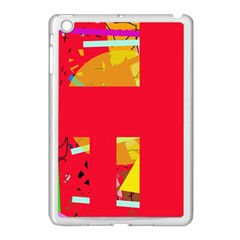 Red Abstraction Apple Ipad Mini Case (white) by Valentinaart