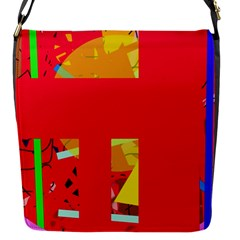 Red Abstraction Flap Messenger Bag (s)