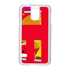 Red Abstraction Samsung Galaxy S5 Case (white) by Valentinaart