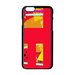 Red Abstraction Apple Iphone 6/6s Black Enamel Case by Valentinaart