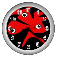 Red Amoeba Wall Clocks (silver)  by Valentinaart