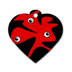 Red Amoeba Dog Tag Heart (one Side) by Valentinaart