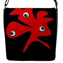 Red Amoeba Flap Messenger Bag (s) by Valentinaart