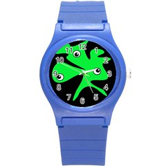 Green Amoeba Round Plastic Sport Watch (s) by Valentinaart