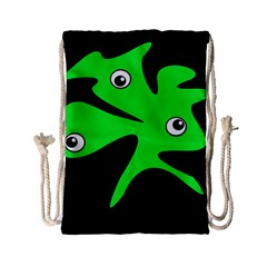 Green Amoeba Drawstring Bag (small) by Valentinaart
