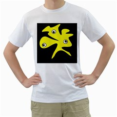 Yellow Amoeba Men s T-shirt (white) (two Sided) by Valentinaart