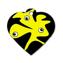 Yellow Amoeba Dog Tag Heart (two Sides) by Valentinaart