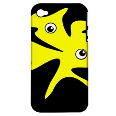 Yellow Amoeba Apple Iphone 4/4s Hardshell Case (pc+silicone) by Valentinaart