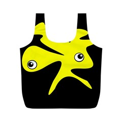 Yellow Amoeba Full Print Recycle Bags (m)  by Valentinaart