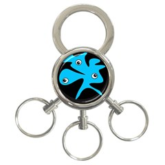 Blue Amoeba 3 Ring Key Chains by Valentinaart