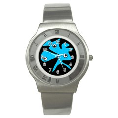 Blue Amoeba Stainless Steel Watch by Valentinaart