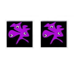 Purple Amoeba Cufflinks (square) by Valentinaart