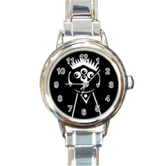 Black And White Voodoo Man Round Italian Charm Watch by Valentinaart