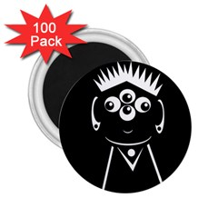 Black And White Voodoo Man 2 25  Magnets (100 Pack)  by Valentinaart