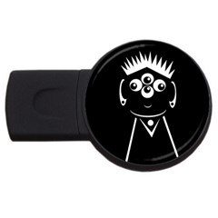 Black And White Voodoo Man Usb Flash Drive Round (2 Gb)  by Valentinaart