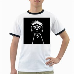 Black And White Voodoo Man Ringer T-shirts by Valentinaart