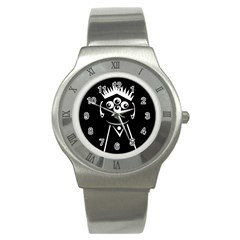 Black And White Voodoo Man Stainless Steel Watch by Valentinaart