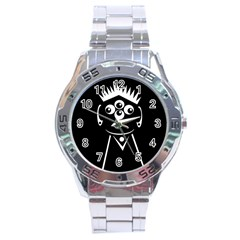 Black And White Voodoo Man Stainless Steel Analogue Watch by Valentinaart