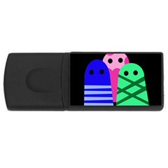 Three Monsters Usb Flash Drive Rectangular (4 Gb)  by Valentinaart