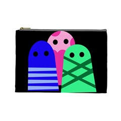 Three Monsters Cosmetic Bag (large)  by Valentinaart