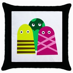 Three Mosters Throw Pillow Case (black) by Valentinaart