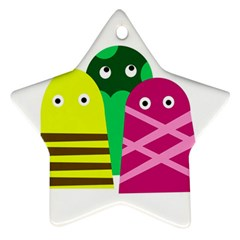 Three Mosters Star Ornament (two Sides)  by Valentinaart