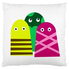 Three Mosters Large Cushion Case (two Sides) by Valentinaart