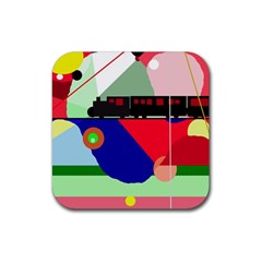 Abstract Train Rubber Square Coaster (4 Pack)  by Valentinaart