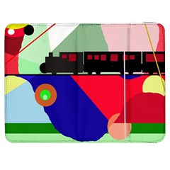 Abstract Train Samsung Galaxy Tab 7  P1000 Flip Case by Valentinaart