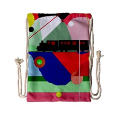 Abstract Train Drawstring Bag (small) by Valentinaart