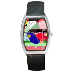 Abstract Train Barrel Style Metal Watch by Valentinaart