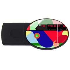 Abstract Train Usb Flash Drive Oval (4 Gb)  by Valentinaart