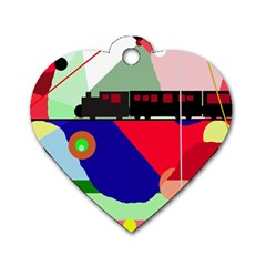 Abstract Train Dog Tag Heart (one Side) by Valentinaart