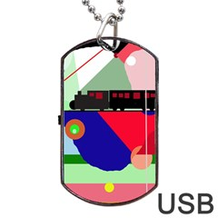Abstract Train Dog Tag Usb Flash (two Sides)  by Valentinaart