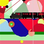 Abstract train Happy Birthday 3D Greeting Card (8x4) Inside