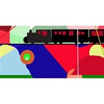 Abstract train Happy Birthday 3D Greeting Card (8x4) Back