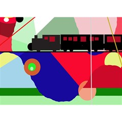 Abstract Train Birthday Cake 3d Greeting Card (7x5)