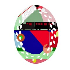 Abstract Train Ornament (oval Filigree)  by Valentinaart